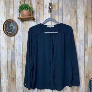 LOFT Petite Navy Button Down Blouse